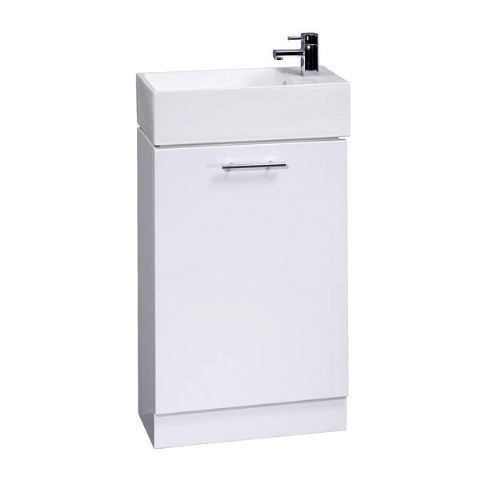 High Gloss White Compact Cabinet and Basin